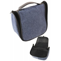 5T. Drop-down toilet-case with handle and hook to hang, in denim