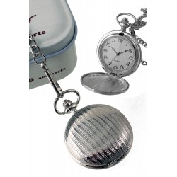 1T. Pocket hanging metal clock with bars pattern. In metal case.