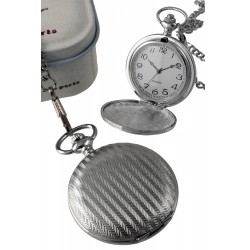 1T. Pocket hanging clock with spike bars pattern. In metal case.