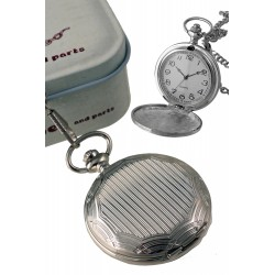 1T. Pocket hanging clock with bars pattern. With metal case