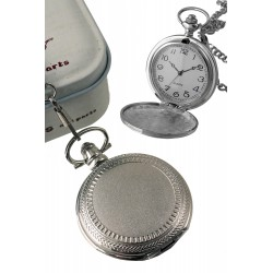 1T. Pocket hanging clock in matted metal bordered. In metal case.