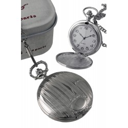 1T. Pocket hanging clock wiith bars pattern and shield. In metallic casing.