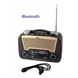 1T. Radio retro gris/dorada  multibanda recargable con linterna de leds orientable.