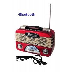 1T. Radio retro roja multibanda recargable con linterna de leds orientable.