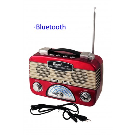 1T. Red radio retro multiband rechargeable with lantern of leds adjustable.