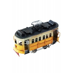 5T. Decorative yellow streetcar in aged metal.