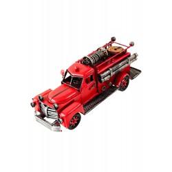 5T. Camión de bomberos decorativo rojo en metal envejecido.