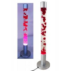 2T. Lámpara metálica cilíndrica de lava roja/transparente