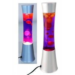 2T. Lámpara metálica de lava amarilla/púrpura con forna de huso