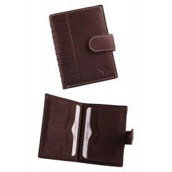 3T. Decorated wallet in brown cow leather with closing