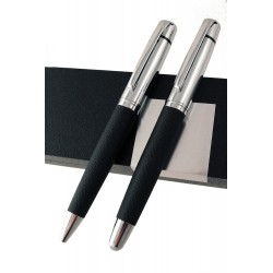 1T. Juego de roller/bolígrafo negro/cromado mate en estuche de origen