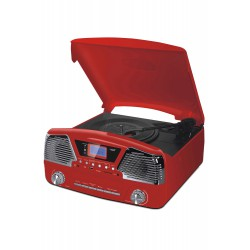 3T. Radio digital «RETRO» roja AM-FM, con tocadiscos/USB/SD