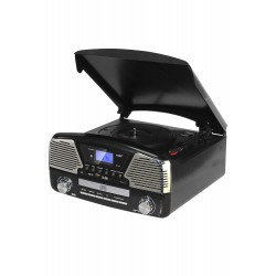 3T. Radio digital «RETRO» negra AM-FM, con tocadiscos/USB/SD y lector Cd´s