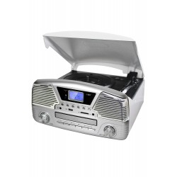 3T. Silver digital radio «RETRO» AM-FM, with tourntable/USB/SD and Cd´s player