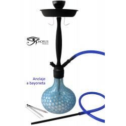 5T. 64 cm. Shisha «HORUS» de cristal azul celeste/negra con 1 boquilla