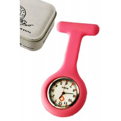 1T. Clock of hanging in pink silicone with safe «Nurse». In metallic case.