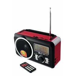 1T. Red Radio and recorder rechargeable.