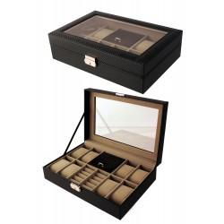 d24592b2cc1b 1T. Relojero joyero negro con textura cosido en negro para 8 relojes