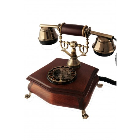5T. Classic telephone wood and metal with rotary dial