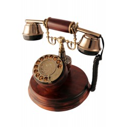 5T. Classic telephone wood with rotary dial
