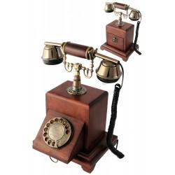 5T. Teléfono vintage de sobremesa en madera y metal con dial giratorio