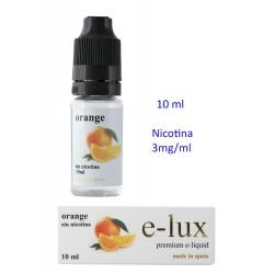 3T. e-liquid Orange 3 mg. envase con 10 ml. «e-lux»