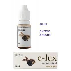 3T. e-liquid Licorice 3 mg. envase con 10 ml. «e-lux»