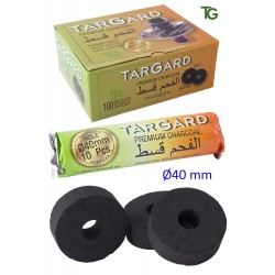 1T. Display with 10 bags of 10 charcoal «Tar Gard» sticks Ø40 mm with hole for shisha