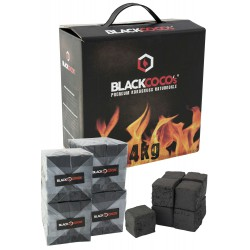 Box of 4 Kg. Coconut natural charcoal «BLACKCOCO» with 256 cubes of 2,6x2,6x2,6 cm