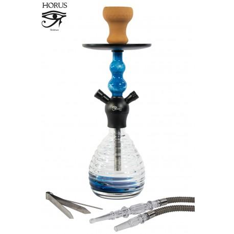 5T. 42 cm. Shisha «HORUS» azul de cristal con 1 boquilla