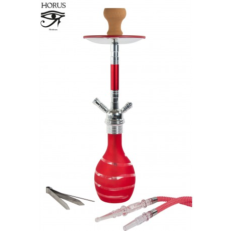 5T. 59 cm Shisha «HORUS» red glass with 1 mouthpiece