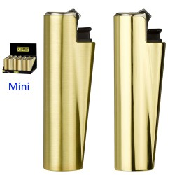 4T. Display with 30 Mini Clipper lighters with metal cover «GOLD MAT»