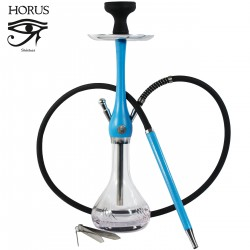 5T. 55 cm. Shisha «HORUS» blue glass and wood with 1 nozzle and silicone hose