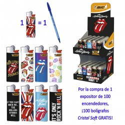 4T. Display with 100 lighters mini BIC «ROLLING STONES» + 100 pens Cristal Soft