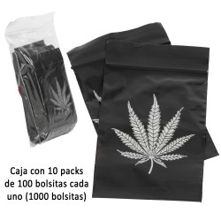 3T. Box with 10 packs of 100 black polyethilene bags 60 x 80 mm. (50 µ) with zipper «Leaf»