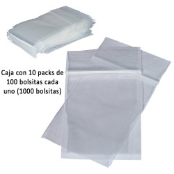 3T. Box with 10 packs of 100 transparent polyethilene bags 50 x 70 mm. (50 µ) with zipper