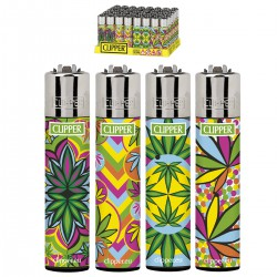 4T. Display with 48 Clipper lighters «FLUO LEAVES 2»