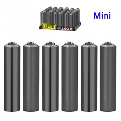 4T. Display with 30 Mini Clipper lighters with metal cover  «ELECTRIC CARBON»