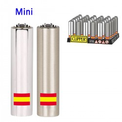 4T. Display with 30 Mini Clipper lighters with metal cover  «BANDERA ESPAÑA»
