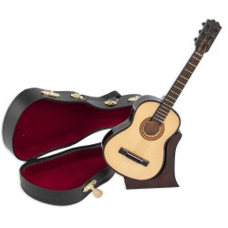 1T. Decorative miniature wooden spanish guitar. With case & support