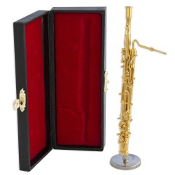 1T. Decorative miniature golded bassoon. With metallic support & case