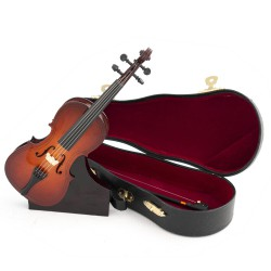 5T. Decorative miniature wooden cello. With case & support