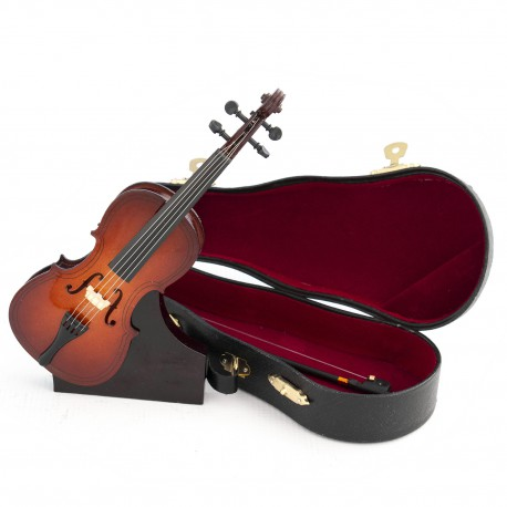1T. Decorative miniature wooden cello. With case & support