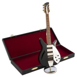1T. Decorative miniature black electric guitar in wood. With metallic support & case
