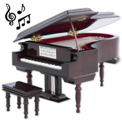1T. Decorative miniature piano in wood. Con music box
