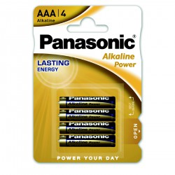 3T. Blister with 4 alkaline batteries Size S - 1,5V AAA Panasonic Power LR03