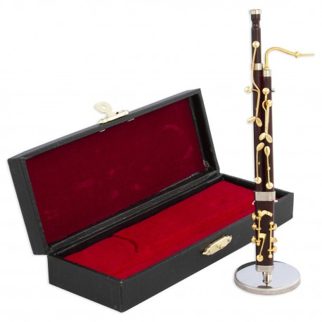 5T. Decorative miniature wooden red bassoon. With metallic support & case