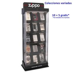 3T. Oferta 10 + 5 encendedores  «Zippo» surtidos en Vitrina de 15 encendedores