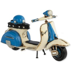 "5T. Blue and white ""Vespa"" decorative metal motorcycle in aged metal"
