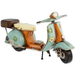5T. Green and orange «Vespa» decorative metal motorcycle in aged metal